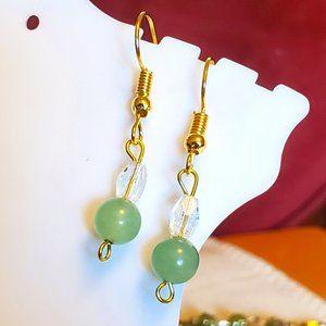 Gold Tone Hook Glass and Jade Bead Dangle Earrings
